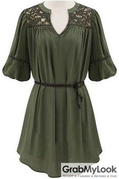 GrabMyLook Green Half Sleeves Lace V Neck Summer Dress