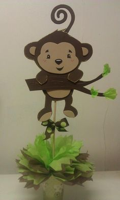 Monkey Brown And Green Centerpiece.