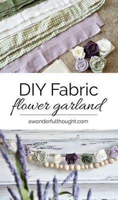 Add some floral decor to any room with this beautiful DIY fabric flower garland! This is a great project to use up those fabric scraps! Handmade Flowers, Diy Flowers, Fabric Flowers, Paper Flowers, Felt Flowers, Cloth Flowers, Burlap Flowers, Fabric Garland, Diy Garland