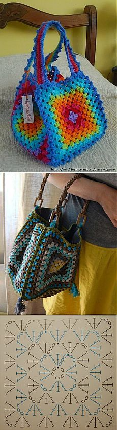 Crochet Granny Square Bag Pattern New Ideas Bag Crochet, Crochet Pillow, Crochet Handbags, Crochet Purses, Crochet Granny, Crochet Crafts, Crochet Clothes, Crochet Baby, Crochet Jacket