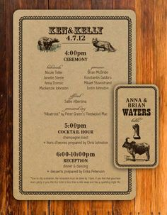 Thru 79 Design - Rustic wild animal Wedding Program and Escort Cards on Etsy, $1.25