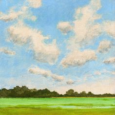 Original Landscape Painting on Canvas 8x8 Clouds and Sky Summer Fields Farmland