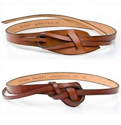 Love these knotted leather belts. Cute around a sweater, t-shirt, or blouse - Love these knotted leather belts. Cute around a sweater, t-shirt, or blouse Estás en el lugar corre - Leather Belts, Leather Jewelry, Leather Craft, Handmade Leather, Leather Totes, Tooled Leather, Women's Jewelry, Vintage Leather, Leather Purses
