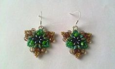 Beaded Silver 925 Earrings Green & Capucino - MichaelaBijoux | Crafty