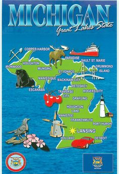 Michigan Blue Vertical Map - FOR TRADE | Flickr - Photo Sharing!