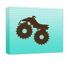 """Four Wheeler Canvas and Print Wall Art. Children's cars and trucks wall art, wall art for kids in gallery wrapped canvas and prints. Baby Nursery, Kids Bedroom, Girl's Room, Boy's Room, Play Room, Children's Bathroom, Recreation Room, chocolate brown on turquoise gradient plaid pattern. Available in .75"""" or 1.5"""" thick artist grade hand-stretched canvas or professional luster print, FREE personalization, add in comments if desired."""