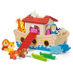 Beautifully painted Wooden Noah's Ark Playset with several pairs of animal…
