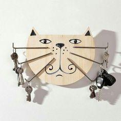 Estante para Llaves Organizador Colocar Llaves con el Texto Keys y 3 Ganchos con Figura Gato Cat Key Holder Gift Ganchos para Llaves Colgador de Llaves para Pared en Madera
