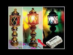 (179) Newspaper table /night lamp handmade |Newspaper crafts - YouTube