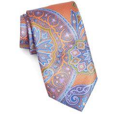 Men's David Donahue Paisley Silk Tie (4.970 RUB) ❤ liked on Polyvore featuring men's fashion, men's accessories, men's neckwear, ties, melon, mens ties, mens silk ties and mens paisley ties