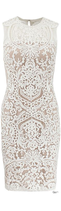 ♔ Naeem Khan ● SS 2014, Embroidered Illusion Cocktail Dress