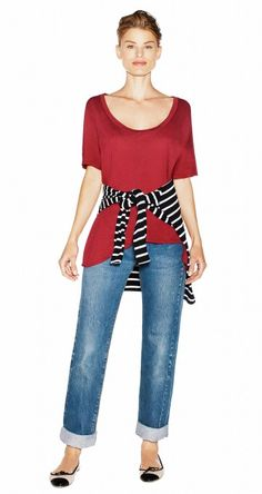 Not sure I like the shirt they're trying to sell, but the whole style in general rocks (#striped #sweater, jeans, bright tee).