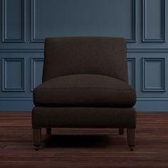 Pierce Armless Chair Sectional, Down Blend, Mohair, Bitter Chocolate