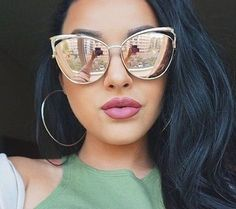 63364dd24f TRIOO High Quality Cat Eye Female Sunglasses Gold Metal Oculos de sol  Reflective Summer Pink Sun Glasses Vintage Sexy Shades This is an  AliExpress affiliate ...