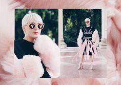 #influencer #blogger #streetstyle #pixie #pixiehair #pixiehaircut #fur #pastel #pastelpink #illustration #editorial #sunglasses #cateye #meyeresztervirag #esztervirag #design Influencer Blogger, Pixie Haircut, Kurt Cobain, Round Sunglasses, Ice Cream, Heart, Illustration, Design, Fashion