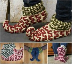 Love these!! http://web.archive.org/web/20101121072753/http://caron.com/projects/ss_chunky/ssc_elf_slippers.html