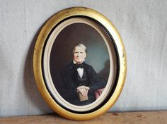 RESERVED for Nadyusha 1800s Antique Miniature Portait Painting Samuel Broadbent Photograph 1860s, Collectible Fine Art Housewarming Gift