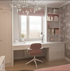 Image may contain: table and indoor via Teen Bedroom Designs, Bedroom Closet Design, Small Room Bedroom, Room Ideas Bedroom, Bedroom Decor, Small Room Design, Home Room Design, Home Office Design, Home Office Decor
