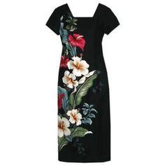 Long, Dress, Hawaiian - Sweetheart Black Hawaiian Sleeve Dress