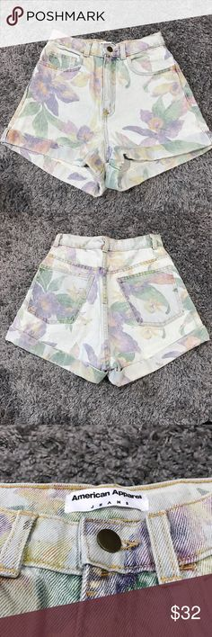 NWT American Apparel High Waisted Shorts BRAND NEW, American Apparel floral printed shorts. They were too big for me, but the quality is amazing. Great for spring and summer time! American Apparel Shorts Jean Shorts
