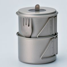 Titanium Cook Kit Snow Peak takes a nice swing at the ultralight cook kit with the Titanium Mini Solo Set. The pot is large enough to hold a 110g fuel canister and a GigaPower stove. The Mini Solo does the job of several pieces without adding weight to your pack.