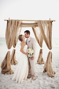 Gorgeous ceremony decoration idea - Ceremony alter with burlap.