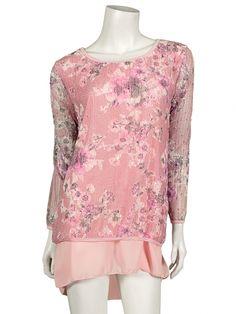 Damen Tunika mit Blütenprint, rosa von www.meinkleidchen.de