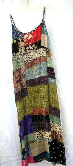 Vintage - India Patchwork Sundress - Bohemian - Gypsy - Hippie Dress - Long…