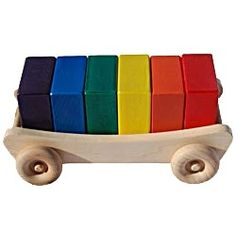 Wooden Rainbow Blocks And Wagon
