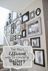 The Most Efficient Way to Create a Gallery Wall- Great Tutorial (esp for preparation and placement of frames) Been wanting to do this for a long time....anyhow, definitely worth pinning & checking out the blog!
