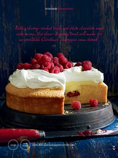 White Chocolate & raspberry trifle cake from Donna Hay (dec-jan 2013)