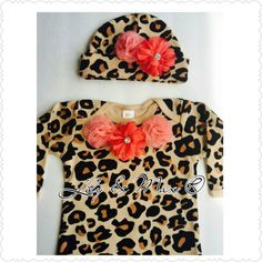 Baby girl leopard coral newborn outfit baby leopard by LilyandMax