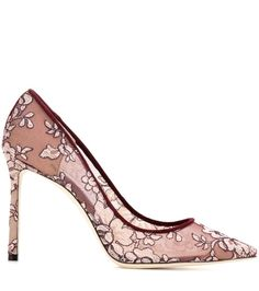 Romy 100 burgundy lace pumps