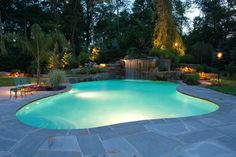 Luxury Swimming Pool Landscaping Ideas Inground Pools NJ Design Pictures On Swimming Pool Swimming Pool Waterfall, Swimming Pool Lights, Swimming Pool Landscaping, Luxury Swimming Pools, Luxury Pools, Swimming Pool Designs, Outdoor Swimming Pool, Landscaping Ideas, Backyard Landscaping