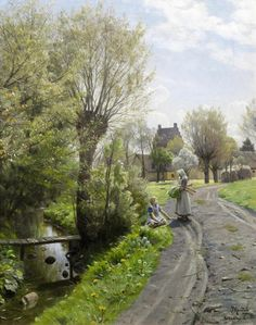 Peder Mørk Mønsted (Danish, 1859-1941) By the river, Brondbyvester
