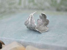 OAK TREE, antique silver plated leaf ring adjustable