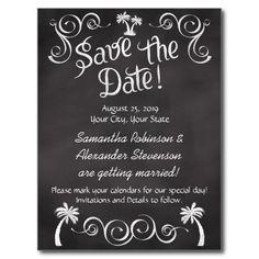 Chalkboard Palm Tree Beach Wedding Save the Date Postcards