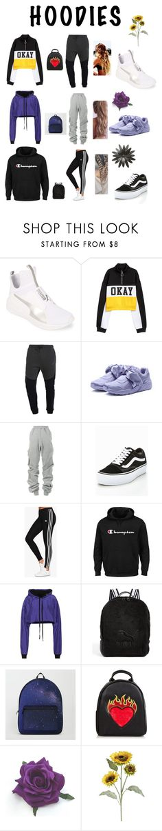 """Hoodies"" by kassidydelapp ❤ liked on Polyvore featuring Puma, NIKE, Y/Project, Vans, adidas Originals, Champion, Unravel, Pier 1 Imports and Hoodies"