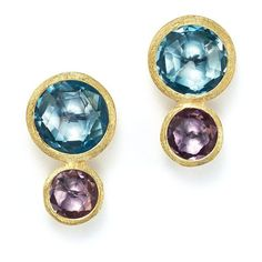 Marco Bicego 18K Yellow Gold Jaipur Two Stone Earrings with Blue Topaz... ($885) ❤ liked on Polyvore featuring jewelry, earrings, gold jewelry, marco bicego earrings, amethyst gold earrings, blue topaz earrings and amethyst earrings