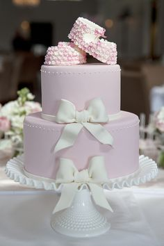 Created for a little girl's christening, this cake is based on a previous christening cake design of mine that was 3 tiers and featured the Owl & the Pussycat. Gorgeous Cakes, Pretty Cakes, Cute Cakes, Amazing Cakes, Bow Cakes, Cupcake Cakes, Pink Christening Cake, Bolo Fack, Occasion Cakes