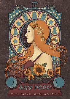 Doctor Who, Amy Pond art nouveau print. Love.