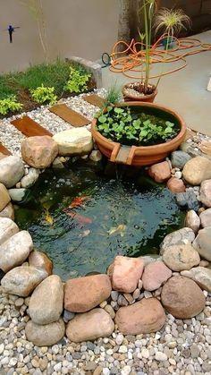 Small Backyard Ponds, Outdoor Ponds, Small Backyard Design, Small Ponds, Small Fish Pond, Outdoor Fountains, Koi Fish Pond, Backyard Designs, Outdoor Fire