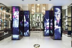 Gucci, Milan. The design company OOOii who has participated in the movies like Minority Report and Mission Impossible has made a new development for Gucci which is capable to show live virtual content integrated in the store. 50 pieces of ultra thin LCD screens scattered in the store making special graphics like interactive displays. Customers will eventually have the option to interact with this digital content. They can use hand movements to search for items, and send them to their mobile…
