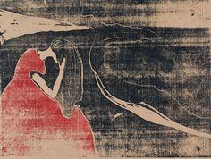 Melancholy II, woodcut by Edvard Munch, 1898