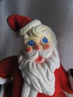 Vintage 1940's Red Flocked Paper Mache Santa by AuntSuesVintage, $24.99