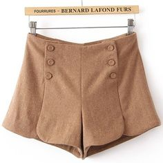 Khaki Pocket Buttons Embellished Shorts US$29.60   UNDER TIGHTS- SO CUTE FOR FALL