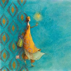 "Gaëlle Boissonnard square card (14 cm) ""La fille à la robe orange"""
