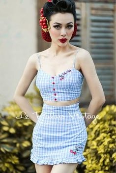 6eebbf1162c Retro Sweet Blue Cherry Embroidery Jumpsuit