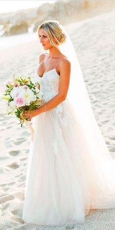 Beach Wedding Dresses Perfect For Destination Weddings ❤ See more: http://www.weddingforward.com/beach-wedding-dresses/ #weddings