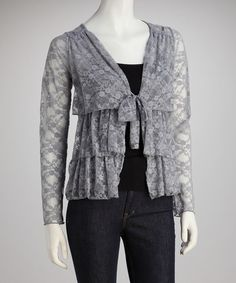 Take a look at this Gray V-Neck Tiered Sheer Cardigan by Rock Candy & Corey P on @zulily today!